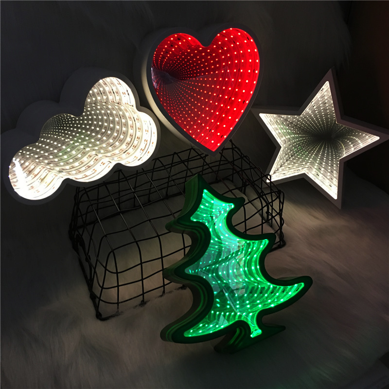 Creative LED Tunnel Lamp AA Battery Infinity Mirror Night Light 3D Cloud Star Home Decor Atmosphere Led Luminaria Love Wall Lamp