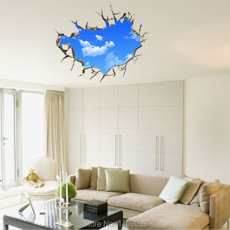 New Wall Sticker 3d Home Decor Living Room Bedroom Wall Decoration Creative Blue Sky Clouds Wall Decals Removable Vinyl In Wall Stickers From Home Garden