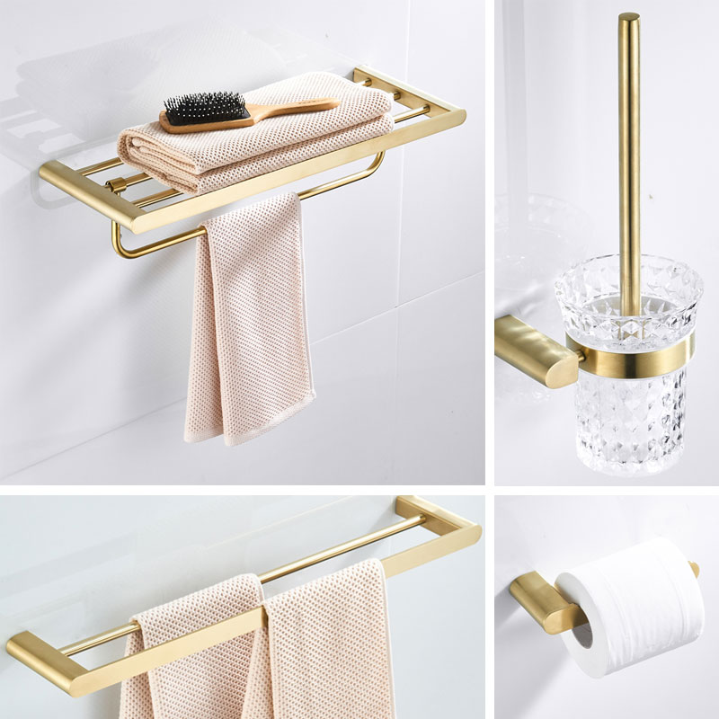 Toothbrush Holder Metal Brushed Gold Bathroom Hardware Set Double Towel Holder Wall Mount Toilet Roll Paper Holder,robe Hook image