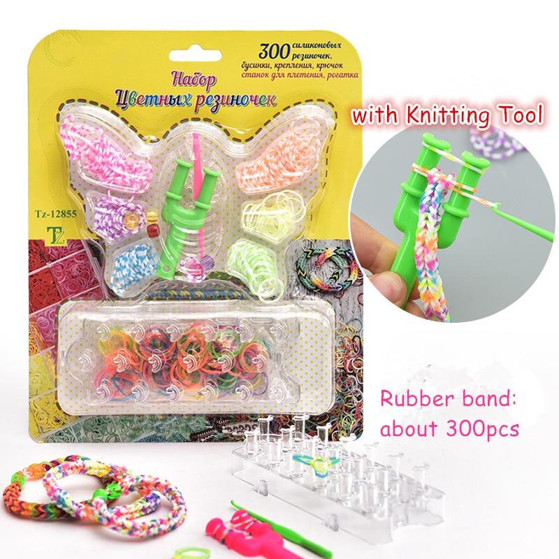 Kids Creative Toys diy Weaving Knitting Tools Set with 300pcs Rubber Bands Children Designer Toy DIY Craft bracelet hairband Kit diy rainbow rubber band bracelet kit set toy for kid multicolored