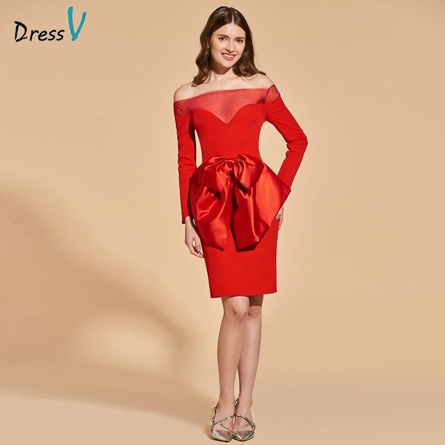 Dressv red cocktail dress off the shoulder