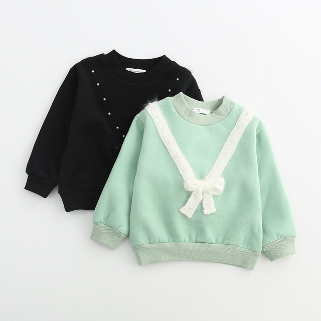 Spring Autumn V Lace Bow Clothes Kids Sweatshirts Baby Girls O-Neck Bow Collar Full Sleeve Hoodies Children Clothing 5pcs/LOT