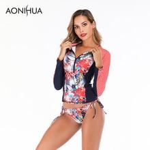 Aonihua Sexy Long Sleeve Swimsuit Female Separate Floral Print Two Piece Women's Swimming Suit Plus Size Swimwear S-2XL тапочки домашние de fonseca parma детские р р 29 34
