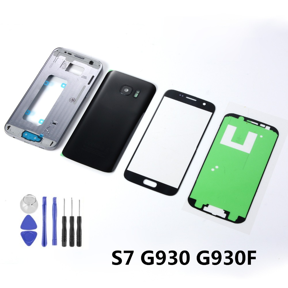 For <font><b>Samsung</b></font> <font><b>Galaxy</b></font> <font><b>S7</b></font> <font><b>G930F</b></font> Housing Metal Middle Frame Battery Back Cover Glass+<font><b>LCD</b></font> <font><b>Display</b></font> Touch Screen Sensor+Adhesive+Tools image