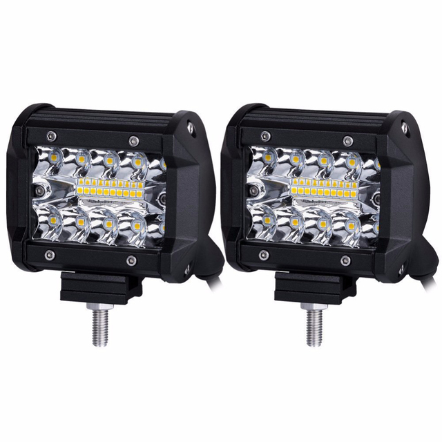 60W 4INCH 20LED Waterproof IP67 Work Light LED Light Bars Spot Flood Beam for Work Driving Offroad Boat Car Tractor Truck