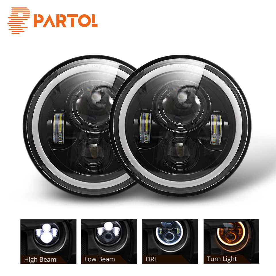 Partol DRL 7inch Round Led Headlight High Low Beam Light Halo Angle Eyes Headlamp 30W For Jeep Wrangler Off Road 4x4 MotorcyclePartol DRL 7inch Round Led Headlight High Low Beam Light Halo Angle Eyes Headlamp 30W For Jeep Wrangler Off Road 4x4 Motorcycle