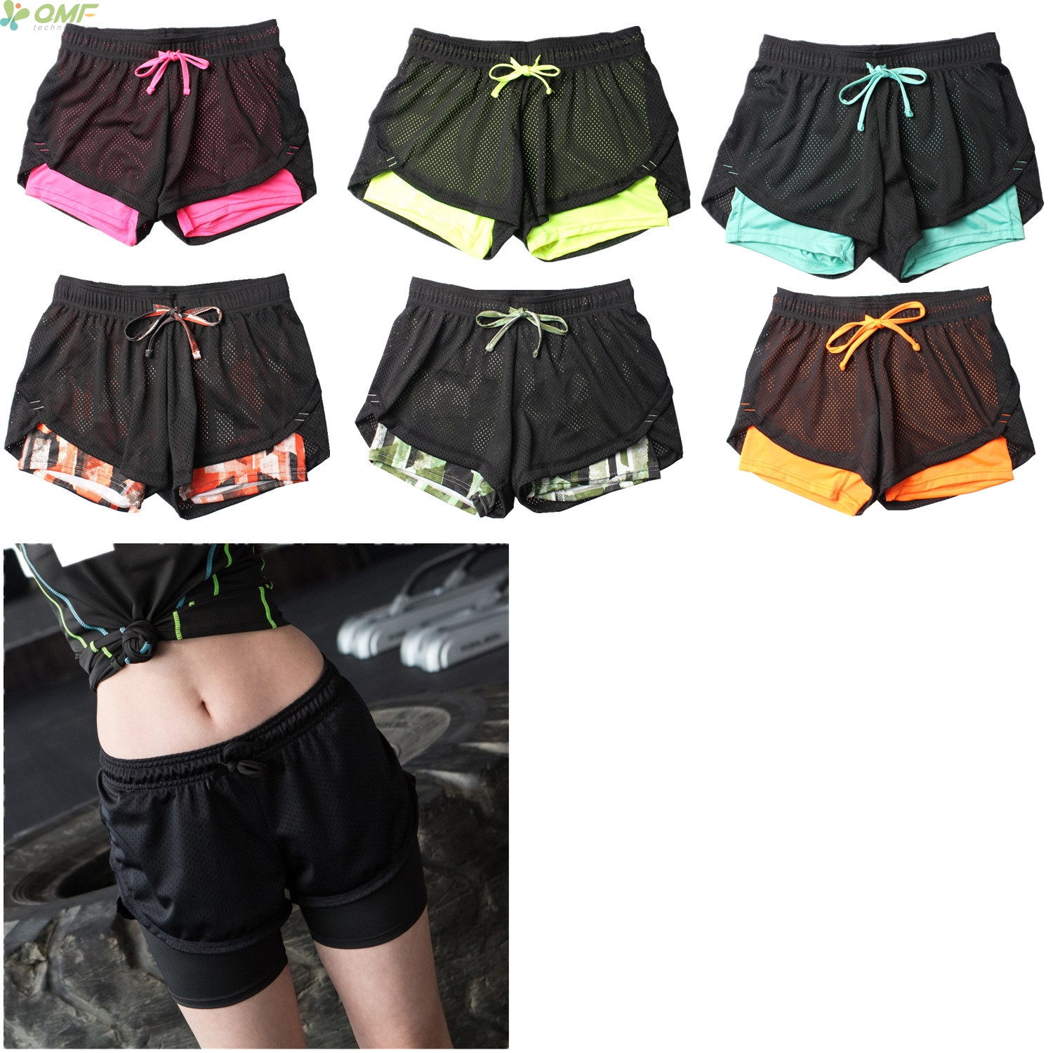 Fashion Women 2 In 1 Fitness Workout Shorts Elastic High Waist Sweat Shorts  Breathable Ladies Shorts 2017 New Arrival quick dry 62ed8941a6