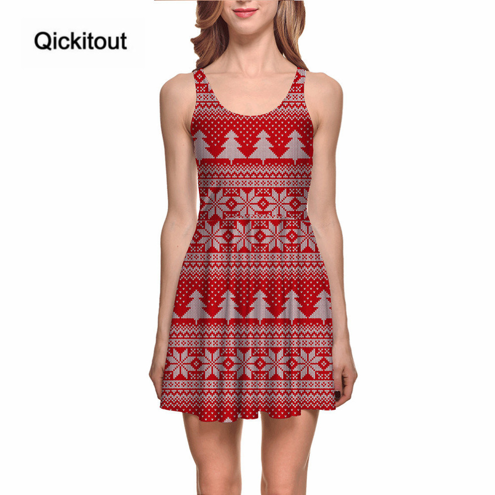 Where to buy christmas dresses - Qickitout Dress Merry Christmas Hot Product Women S Snow Simple Red Festival Tree Dresses Digital Print Skater