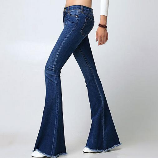 Spring Autumn Slim Fit Mid Waist Flare Jeans Plus Size Stretch Skinny Jean Bell-Bottom Pants Denim Trousers