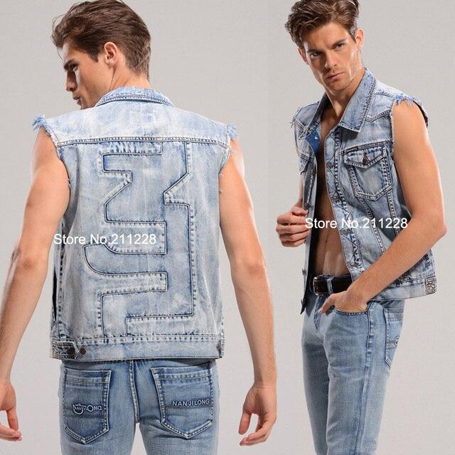 a6f0d33914354 2015 XXXL spring summer male blue denim vest casual sleeveless jean vests  coat