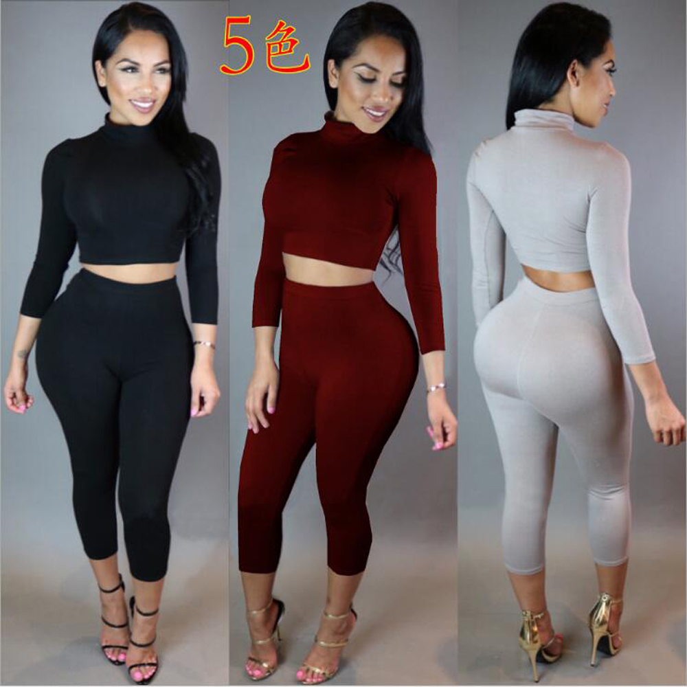 a1e83c1ec301 New 2016 Winter Women Two Piece Bodycon Jumpsuit Knee Length Long Sleeve  Playsuit Sexy Club Elegant Rompers And Jumpsuits