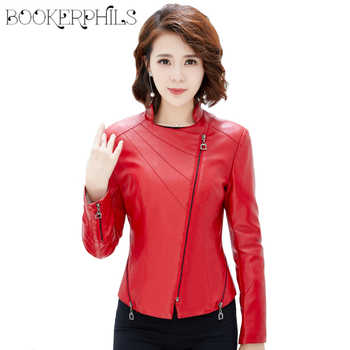 2019 New Spring Autumn Women Motorcycle Faux PU Leather Plus Size 4XL Red Black Soft Leather Jackets Lady Biker Outerwear Coat - DISCOUNT ITEM  38% OFF Women\'s Clothing