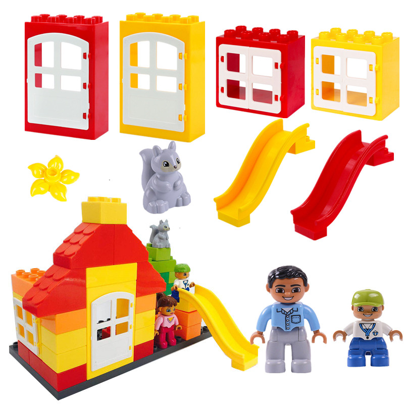 Building Blocks American Courtyard Diy Play Bricks Parts Duploed Toys For Baby Christmas Gifts