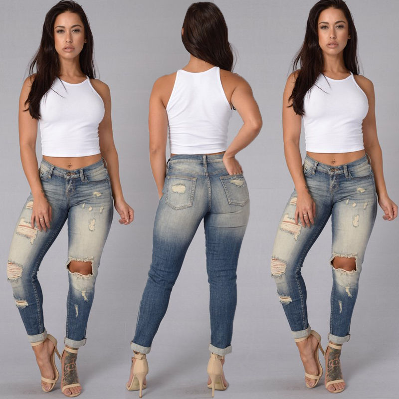 Women Denim Skinny Ripped Pants High Waist Stretch Jeans Slim Pencil Trousers Fashion Woman Hole Jean Pant women s high street ripped knees jeans strech low rise denim pencil skinny pants trousers femme jeans for women jean hole jeans