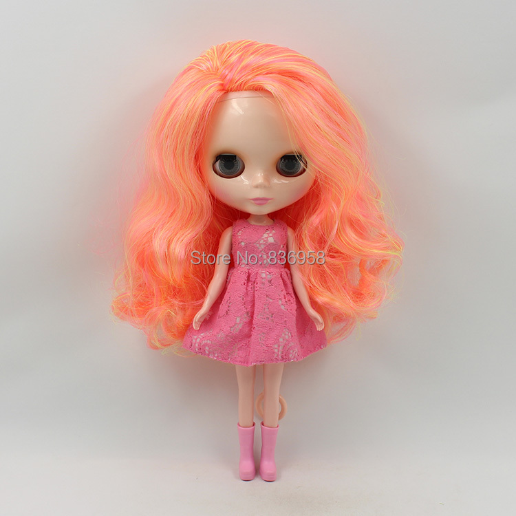 ICY free shipping nude blyth doll bjd neo BL89813012 YELLOW MIX PINK AND ORANGE HAIR side parting toy gift adiors long middle parting shaggy wavy color mix synthetic party wig