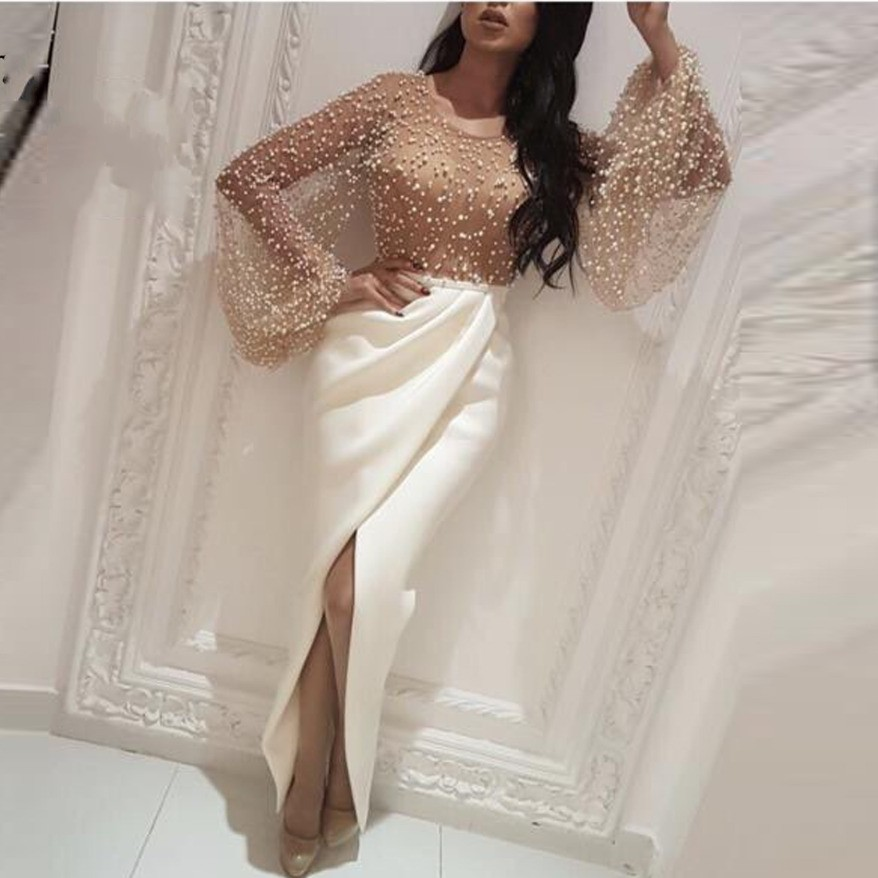Flare Sleeves   Evening   Gowns Pearls Ivory Mermaid Arabian   Evening   Gown Vestidos Custom Made Pleats Elegant   Evening     Dresses