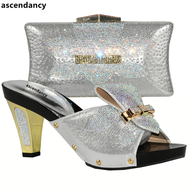 Women Shoes and Bag Set In Italy Red Color Italian Shoes with Matching Bag Set Decorated with Rhinestone Nigerian Wedding Shoes