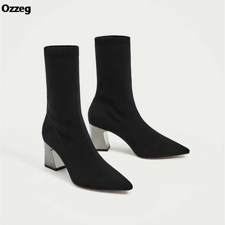 Aneikeh Fashion Ankle Elastic Sock Boots Chunky High Heels Stretch Women Autumn Sexy Booties Pointed Toe Women Pump Size 39