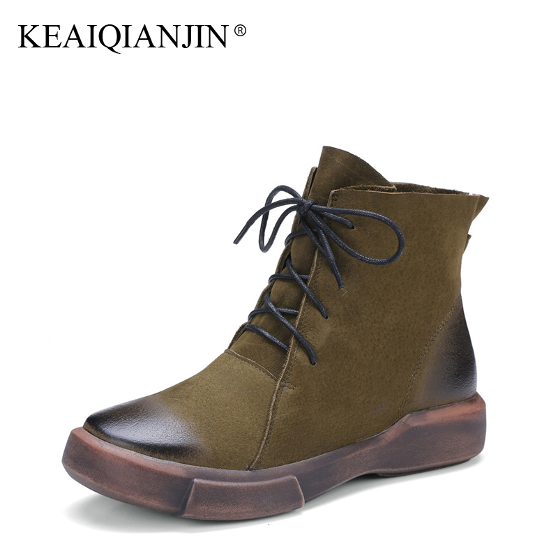 KEAIQIANJIN Woman Genuine Leather Ankle Boots Black Brown Green Lace-Up Flat With Boots Autumn Winter Fashion Oxford Shoes 2017 women ankle boots 2016 round toe autumn shoes booties lace up black and white ladies short 2017 flat fashion female new chinese