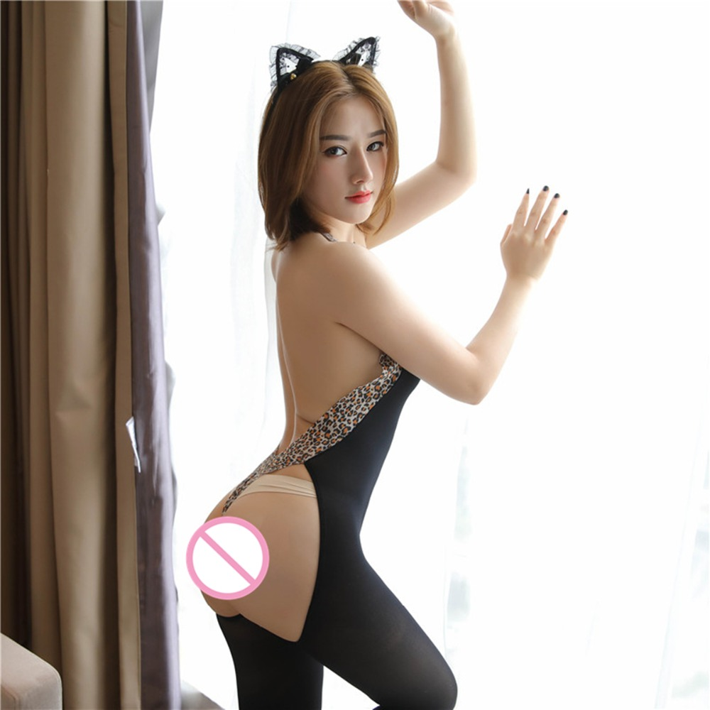 Anime Leopard <font><b>Cat</b></font> Hollow chest <font><b>Sexy</b></font> Maid Dress Halloween costume for women Adult image