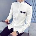 Más el Tamaño m-5xl Otoño Invierno Para Hombre Camisas Slim Fit Patchwork Camisa Blanca de Manga Larga de Los Hombres Camisas A0109