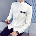 Plus Size m-5xl Autumn Winter Mens Shirts Slim Fit Patchwork White Shirt Long Sleeve Men Shirts A0109