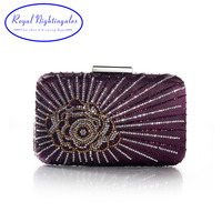 New Purple Large Satin Silk Rose Floral Hard Evening Clutches and Evening Bags with Flowers for Womens Party Wedding Prom Dress