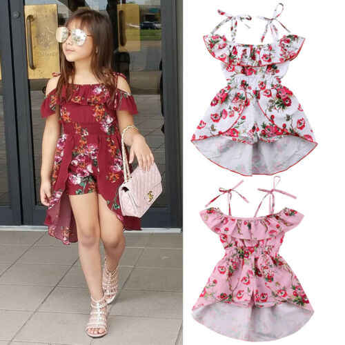 2019Toddler Kids Baby Girl Floral Off  Shoulder Soft Dress Romper Jumpsuit Dress  Ruffle Dress Summer Outfit Children Sundress
