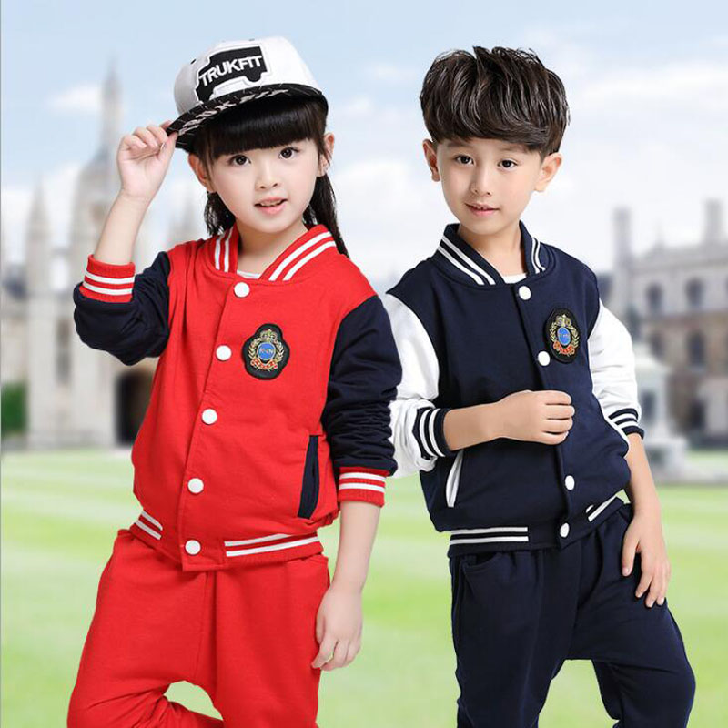 KIds Primary School Uniforms Teenage children clothing set sport suit for boys girls baseball suit kids tracksuit fashion outfit