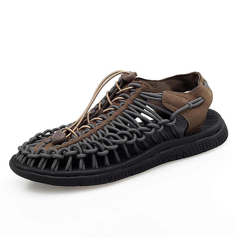 Vancat 2020 verão tamanho grande 47 homens sandálias moda artesanal tecelagem design respirável casual sapatos de praia ao ar livre sandálias para homem