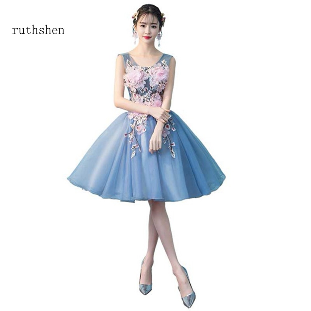 ruthshen robe bal de promo short prom dresses 2018 organza knee length party dresses lace up