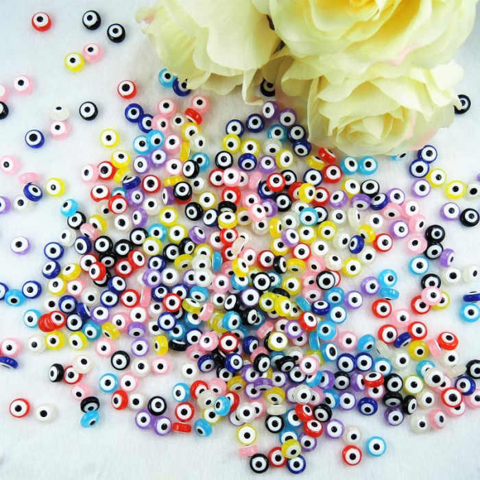 8*5mm Acrylic Evil Eye Beads Loose Flat Round Spacer Beads Double Face DIY Jewelry Findings Accessories Mixed Color 200pcs YK-31
