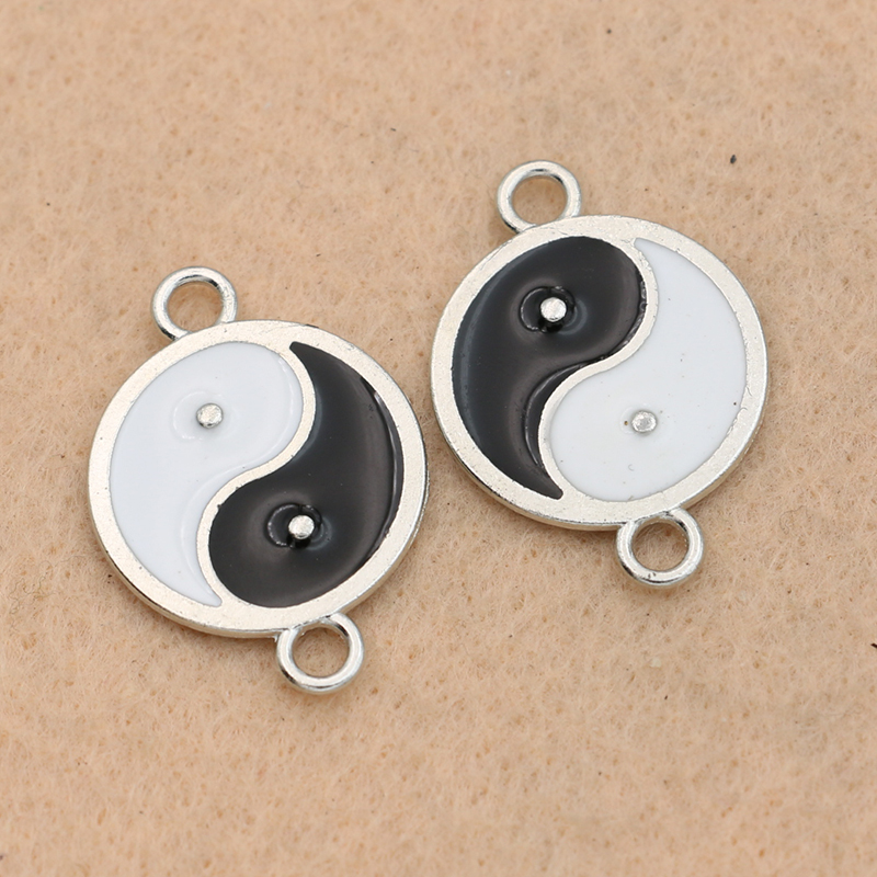 KJjewel Antique Silver Plated Yinyang Charm Connector For Jewelry Making Accessories DIY Handmade 20mm