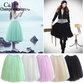 FANALA Tulle Skirts Womens Lace Princess Fairy Style 5 layers Voile Tulle Skirt Bouffant Puffy Fashion Long Female Skirts Summer