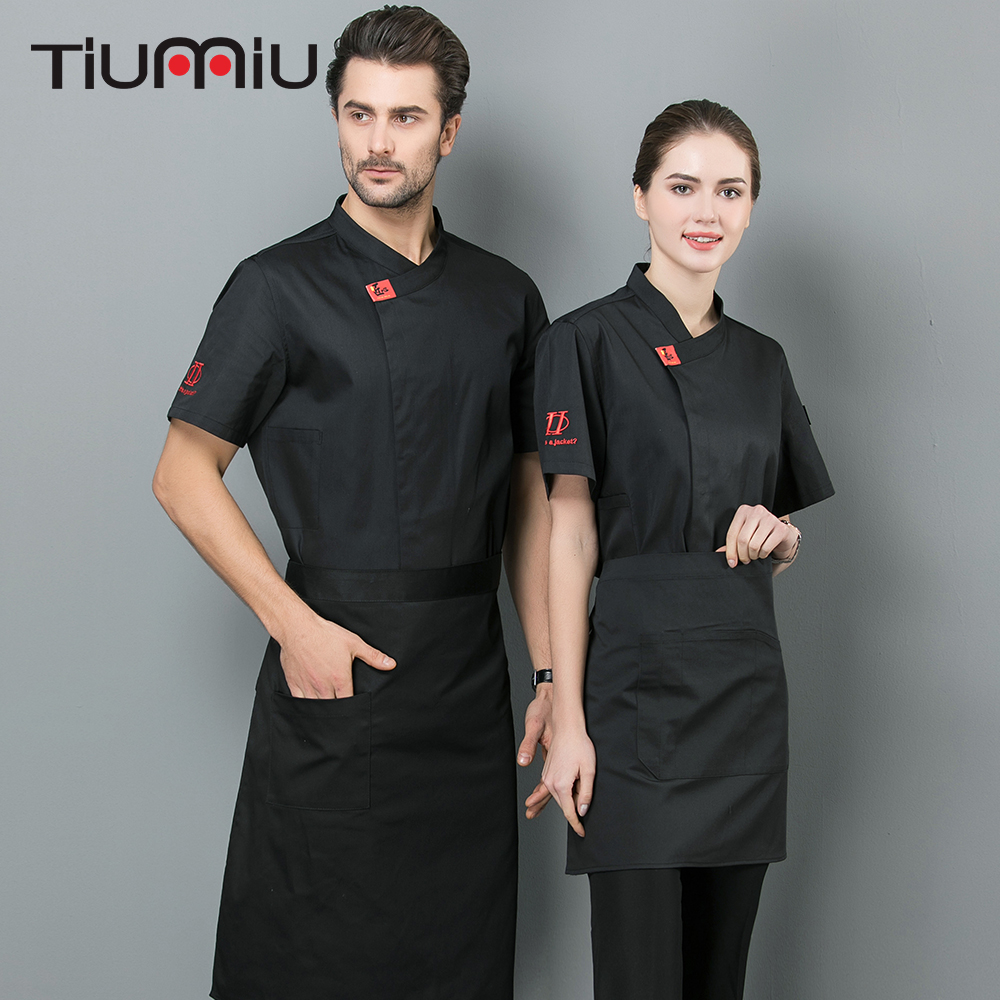 2019 New Arrival Chef Jacket Short Sleeve Men Women Chef Shirt Food Service Kitchen Kochjacke Coffee Cake Shop Sushi Uniform