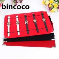 Bincoco 39 5cm 26 5cm 1cm Watch Display Trays Watch Tray For Store Velvet Insert Watch
