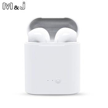 M & J I7S наушники-вкладыши TWS с наушники Беспроводной Bluetooth Двойные наушники близнецов стерео Музыкальная гарнитура для iPhone не i10 i13 >> M&J 3C Store