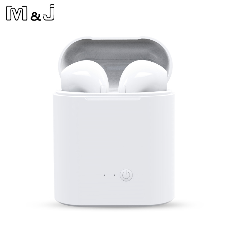 M&J I7S TWS Earbuds Wireless Bluetooth Double Earphones Twins Earpieces Stereo Music Headset For Apple iPhone 8 8 Plus earphones m