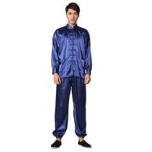 Royal Blue Chinese Men's Silk Rayon Leisure Suit Vintage Kung Fu Tai Chi Sets Uniform Size S M L XL XXL M048-3