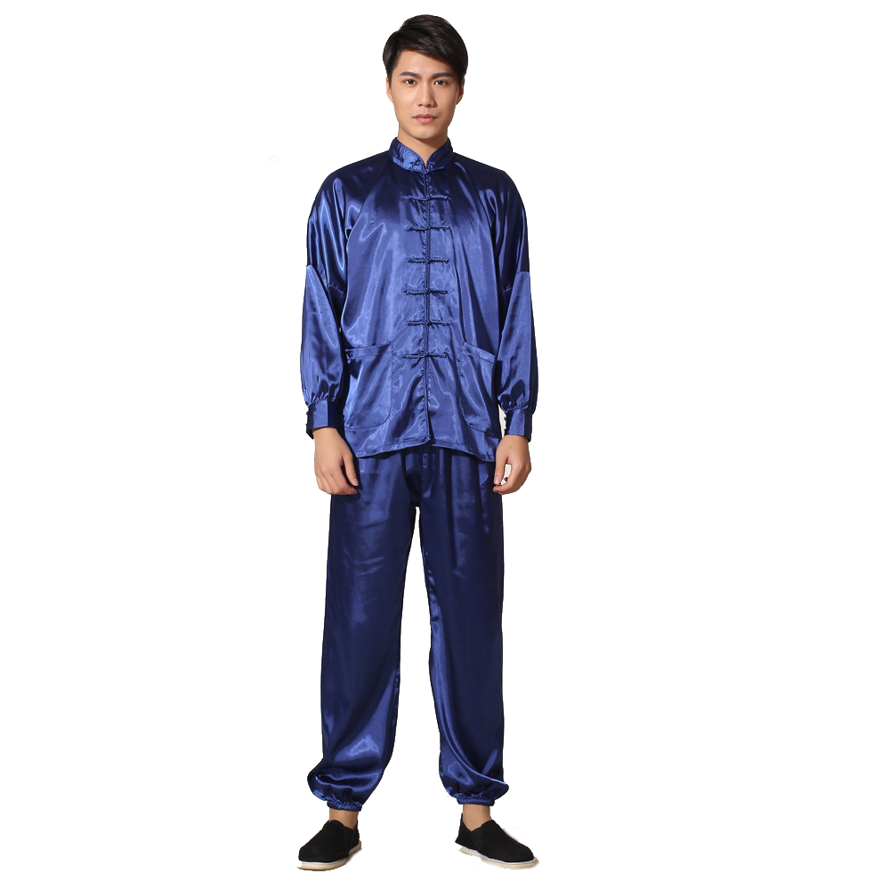 Royal Blue Chinese Mens Silk Rayon Leisure Suit Vintage Kung Fu Tai Chi Sets Uniform Size S M L XL XXL M048-3