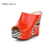 Plus Size 32 43 Women High Heels Slides Open Toe Fashion Zebra Print Women Platform Wedges