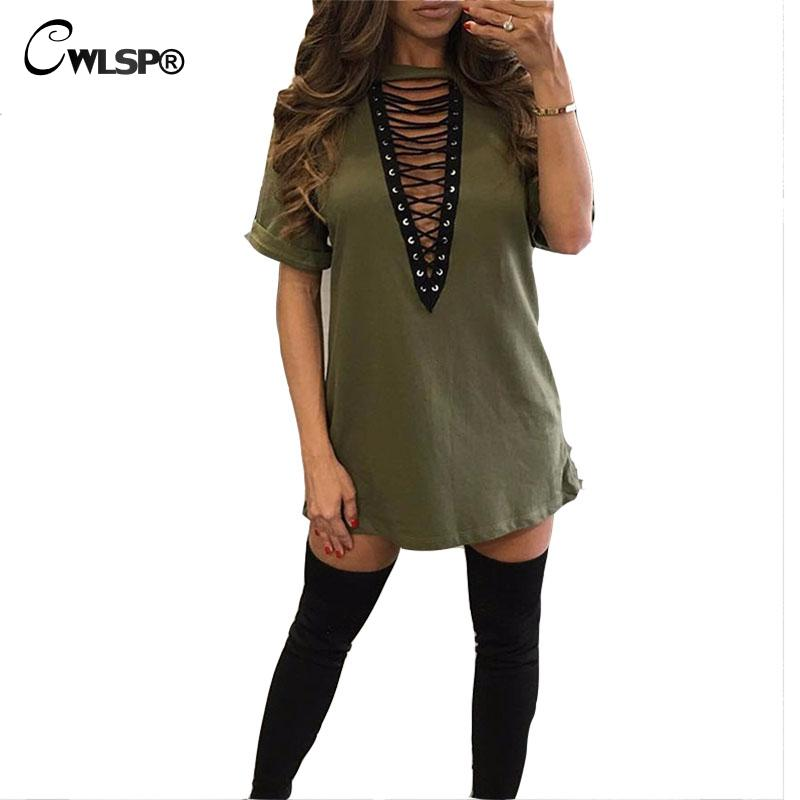 0448be48f2 CWLSP New arrival Lace up Dress Women Short Sleeve hollow out Sexy T shirt  Dress Summer Autumn Vestods Female QL2633