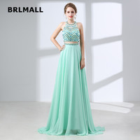 2019 Crop Top Prom Dresses Chiffon Two Piece A Line Applique Beading O Neck Plus Size Custom Made Evening Gowns