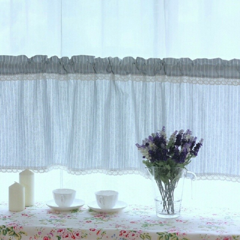 Linen Stripe Kitchen Curtains: Free Shipping Elegant Stripe Cotton Linen Lace Pastoral