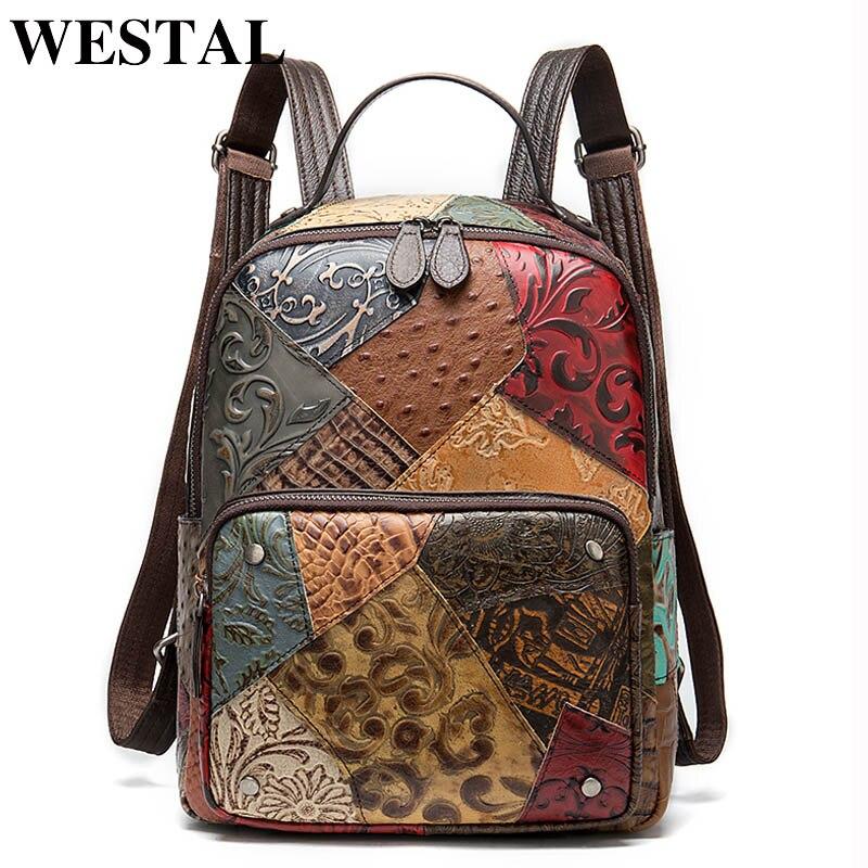 WESTAL Vintage femmes sacs à dos en cuir véritable Floral sac d'école pour les filles Zip femme école sac à dos Patchwork sac à dos 86343