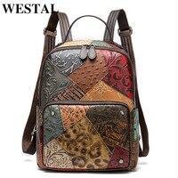 WESTAL Vintage Women Backpacks Genuine leather Floral School Bag for Girls Zip Female School Backpack Patchwork Daypack 86343