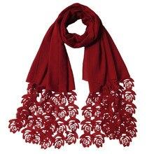 180*85cm popularna róża kwiat laserowo wycinane bańki szyfonu opaski Hollow szale hidżab Wrap szale muzułmańskie szalik na głowę