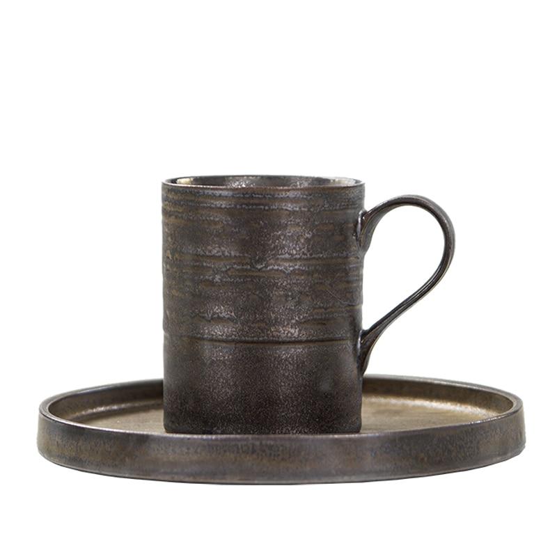 Tasse à café en poterie grossière de Style japonais Zen noir 140/300 ml avec soucoupe tasse à café en céramique Cappuccino faite à la main