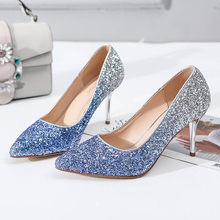 Gradient color bling wedding pumps ladies sexy dazzling slip on single  shoes party queen big size e6888ed0a5b4