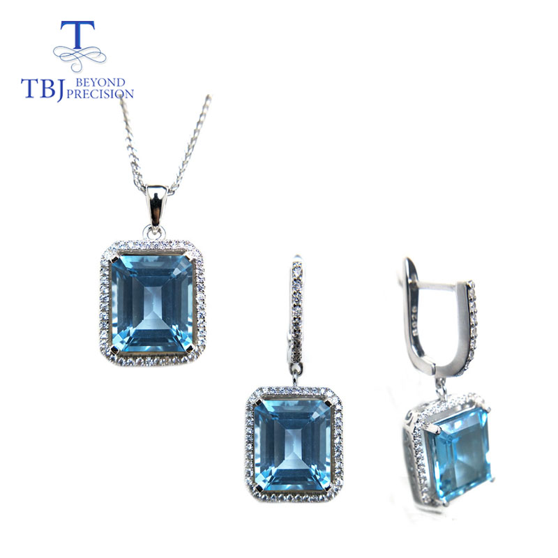 TBJ 21 6ct natural oct10 12 sky topaz gemstone jewelry set in 925 silver classic design